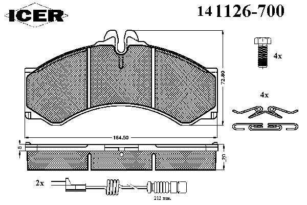 Комплект тормозных колодок, дисковый тормоз ICER 141126-700