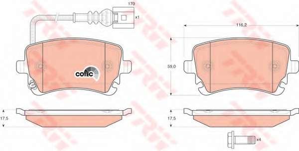 Комплект тормозных колодок, дисковый тормоз TRW GDB1557