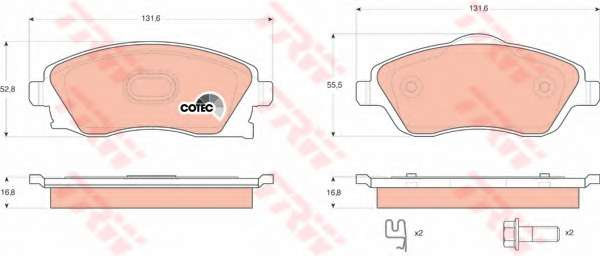 Комплект тормозных колодок, дисковый тормоз TRW GDB1570