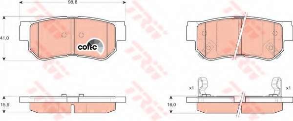Комплект тормозных колодок, дисковый тормоз TRW GDB3284