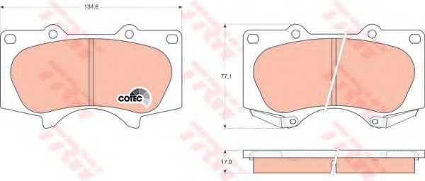Комплект тормозных колодок, дисковый тормоз TOYOTA 04465-35290