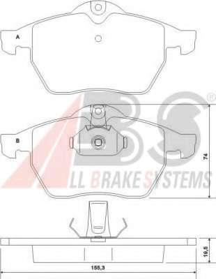 Комплект тормозных колодок, дисковый тормоз A.B.S. 36897