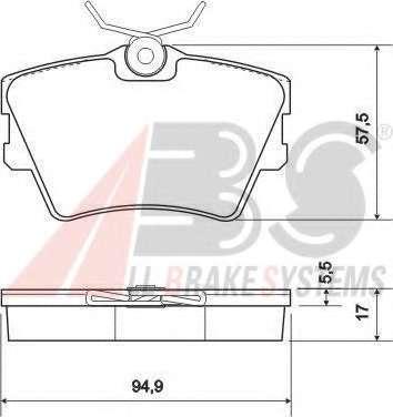 Комплект тормозных колодок, дисковый тормоз A.B.S. 36983