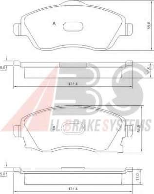 Комплект тормозных колодок, дисковый тормоз A.B.S. 37213