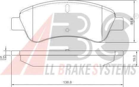 Комплект тормозных колодок, дисковый тормоз A.B.S. 37272