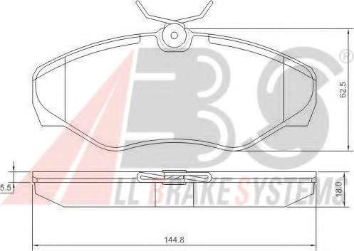 Комплект тормозных колодок, дисковый тормоз A.B.S. 37287