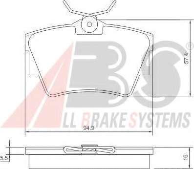 Комплект тормозных колодок, дисковый тормоз A.B.S. 37288