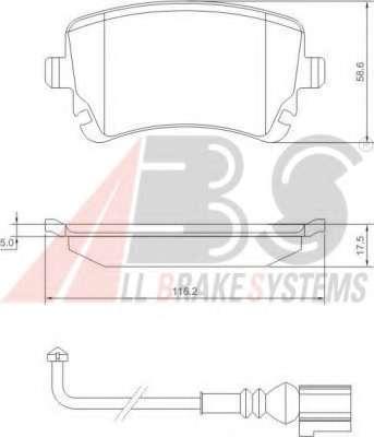 Комплект тормозных колодок, дисковый тормоз A.B.S. 37413
