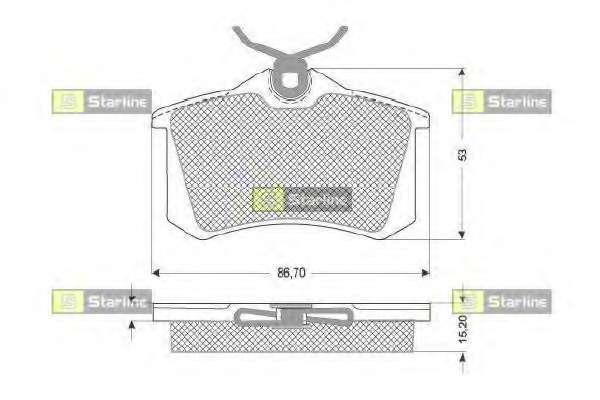 Комплект тормозных колодок, дисковый тормоз STARLINE BD S030