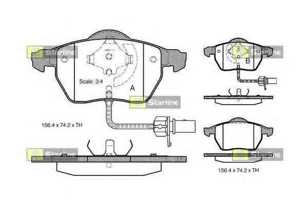 Комплект тормозных колодок, дисковый тормоз STARLINE BD S301