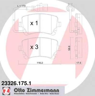 Комплект тормозных колодок, дисковый тормоз ZIMMERMANN 23326.175.1