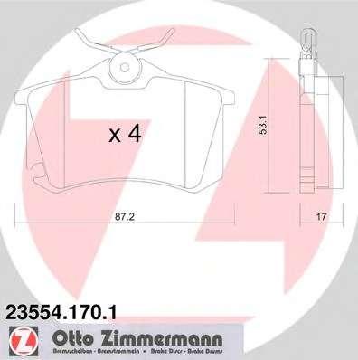 Комплект тормозных колодок, дисковый тормоз ZIMMERMANN 23554.170.1
