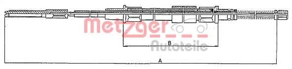 Трос, стояночная тормозная система METZGER 10.7402