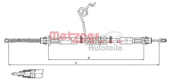Трос, стояночная тормозная система METZGER 11.5668
