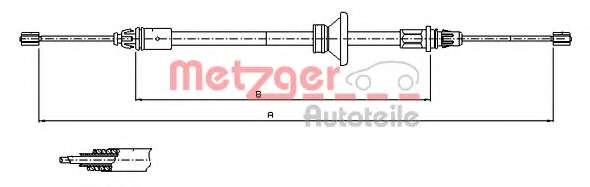 Трос, стояночная тормозная система METZGER 11.6801