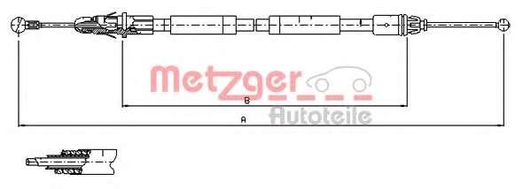 Трос, стояночная тормозная система METZGER 11.6804