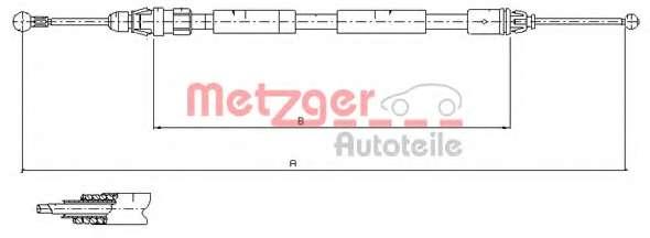Трос, стояночная тормозная система METZGER 11.6808