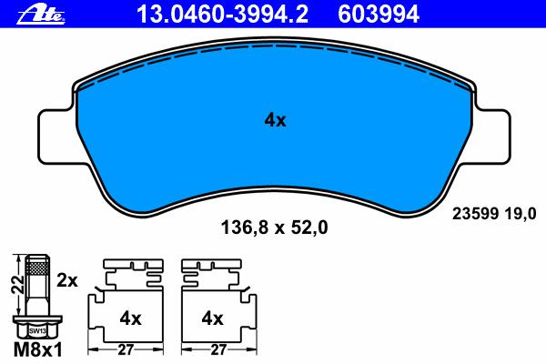 Комплект тормозных колодок, дисковый тормоз ATE 13.0460-3994.2